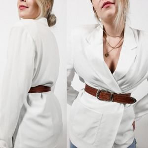 Oversized white blazer vintage belted blazer dress